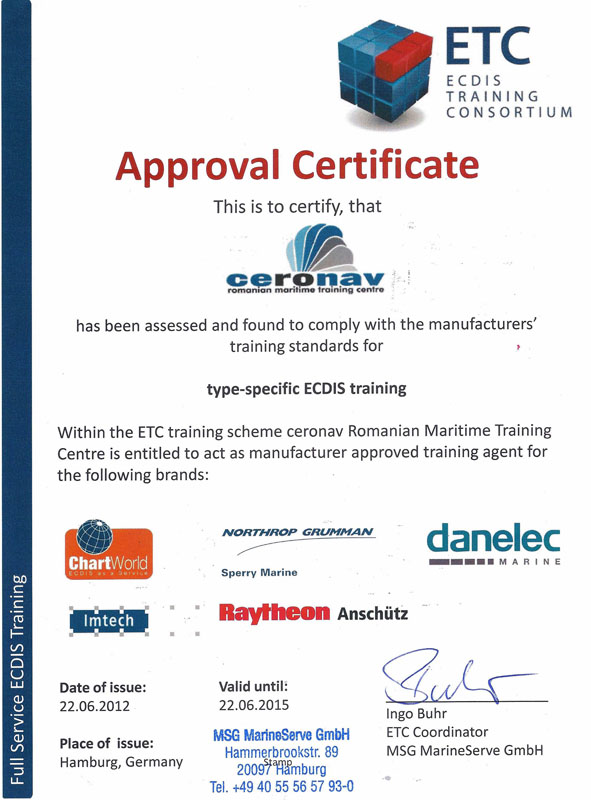 ECDIS Type Specific Approval Certificate