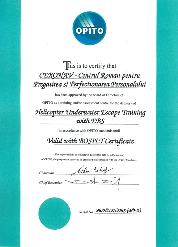 OPITO HUET Approval Certificat